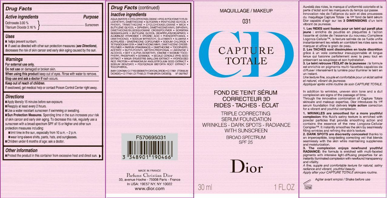 Cd Capture Totale Triple Correcting Serum Foundation Wrinkles-dark Spots-radiance With Sunscreen Broad Spectrum Spf 25 031 (Octinoxate, Titanium Dioxide) Cream [Parfums Christian Dior]