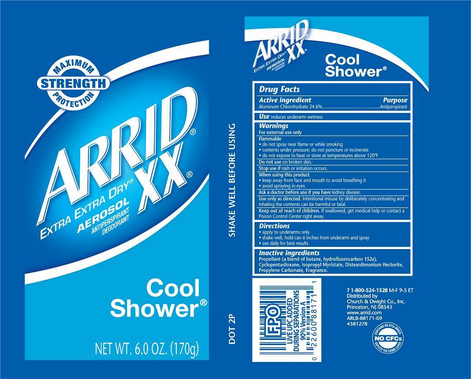 Arrid Extra Extra Dry Xx Cool Shower (Aluminum Chlorohydrate) Aerosol, Spray [Church & Dwight Co., Inc.]