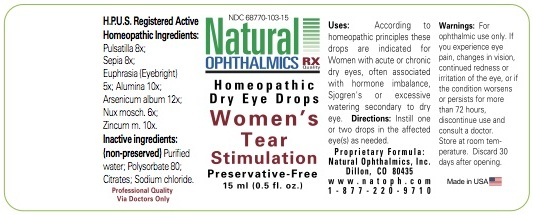 Womens Tear Stimulation (Pulsatilla, Sepia, Euphrasia, Alumina, Arsenicum Album, Nux Mosch, Zincum M) Liquid [Natural Ophthalmics, Inc]