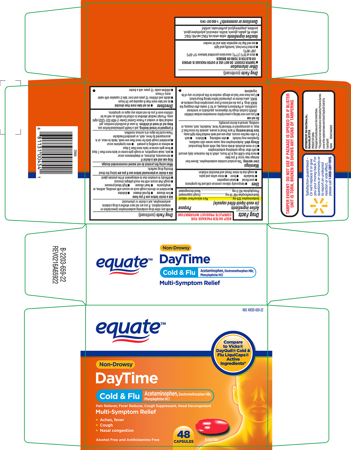 Cold And Flu Non-drowsy, Daytime (Acetaminophen, Dextromethorphan Hbr, Phenylephrine Hcl) Capsule, Liquid Filled [Wal-mart Stores Inc]