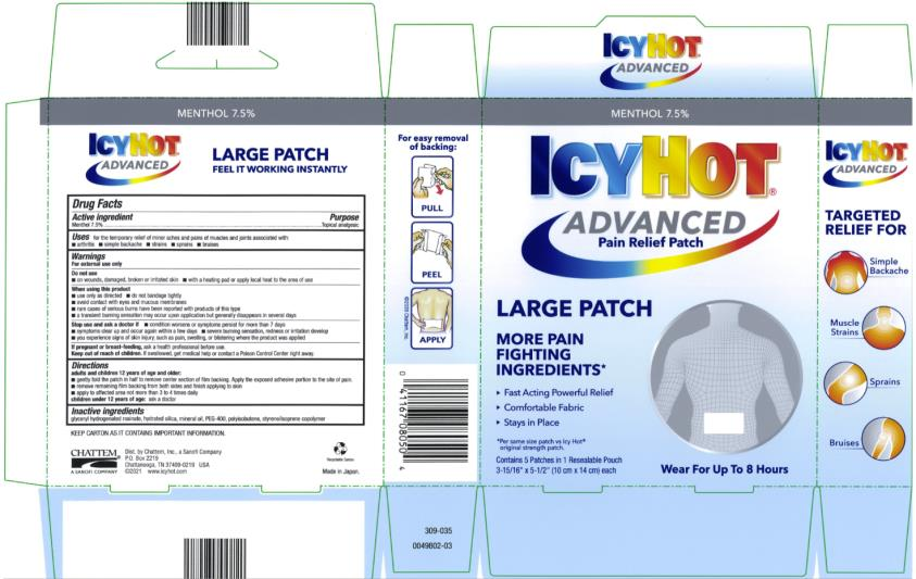 Icy Hot Advanced Relief (Menthol Topical Analgesic) Patch [Chattem, Inc.]