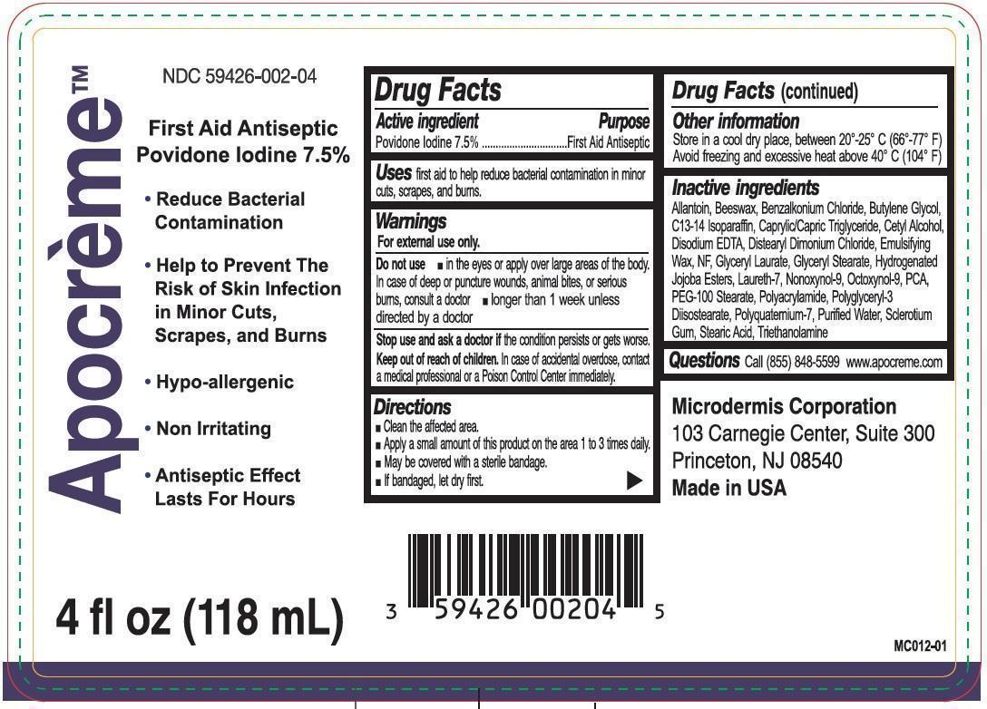 Apocreme (Povidone Iodine) Emulsion [Microdermis Corporation]