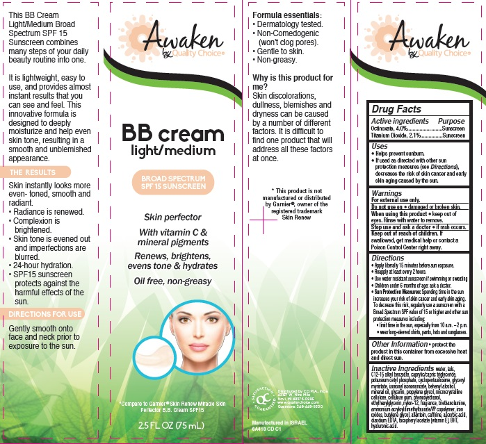 Awaken Skin Perfector Bb Broad Spectrum Spf 15 Sunscreen Light Medium (Octinoxate And Titanium Dioxide) Cream [Chain Drug Marketing Association]