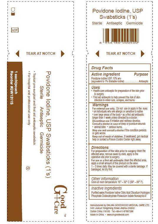 Good Care Povidone Iodine Swabsticks (Povidone-iodine) Swab [Dalian Goodwood Medical Care Ltd.]
