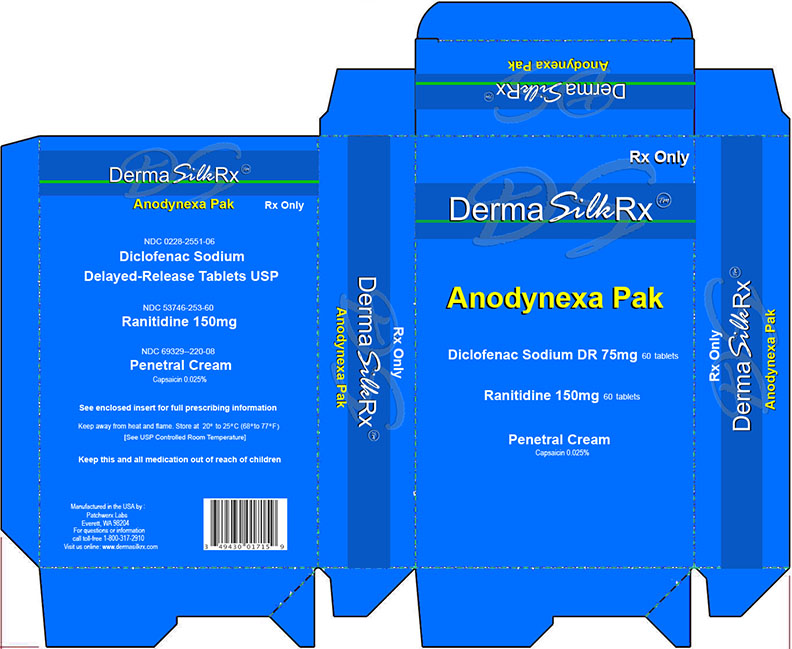 Deramsilkrx Anodynexa Pak (Diclofenac Sodium Delayed Release Tablets, Ranitidine Tablets, Capsaicin Cream) Kit [Patchwerx Labs, Inc.]
