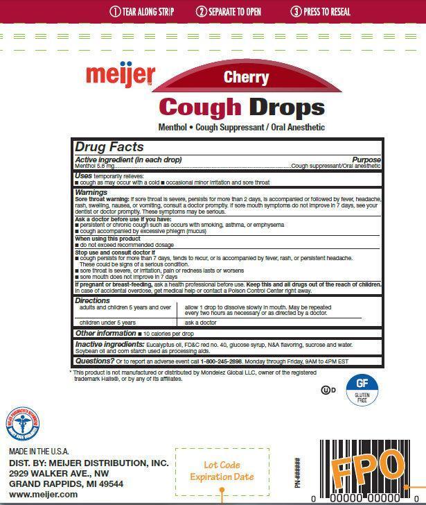 Meijer Cherry Cough Drops (Menthol) Lozenge [Meijer Distribution, Inc ]