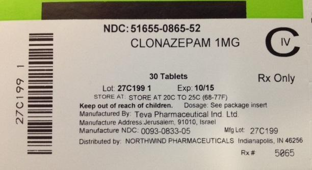 Clonazepam Tablet [Northwind Pharmaceuticals]