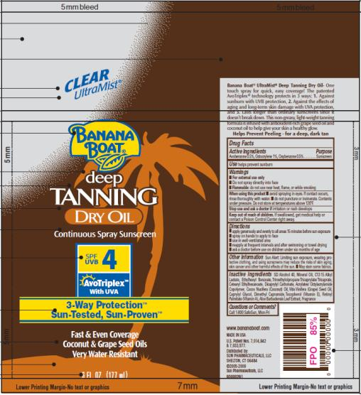 PRINCIPAL DISPLAY PANEL Banana Boat Deep Tanning Dry Oil SPF 4