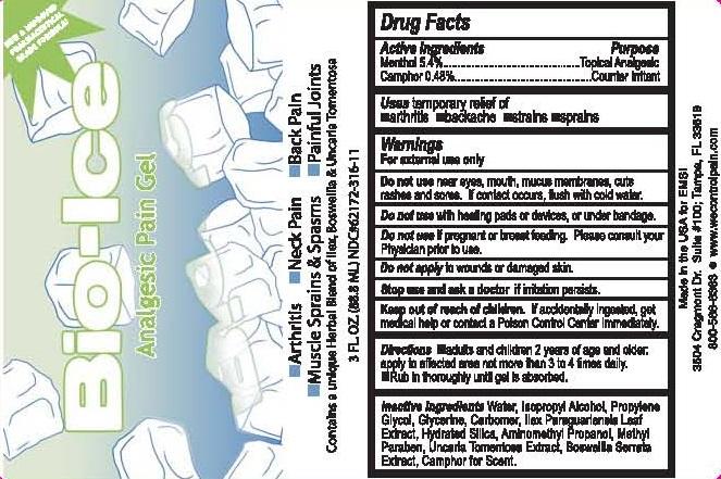 Bio-ice (Menthol, Camphor) Gel [Electrostim Medical Services Inc. D/b/a Emsi]