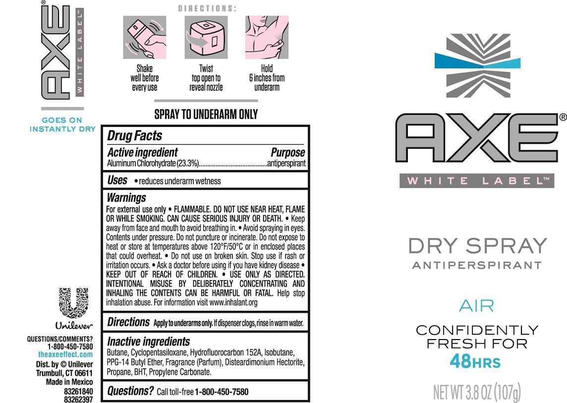 Axe Air Antiperspirant (Aluminum Chlorohydrate) Aerosol, Spray [Conopco Inc. D/b/a Unilever]