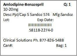Amlodipine Besylate And Benazepril Hydrochloride Capsule [Clinical Solutions Wholesale]