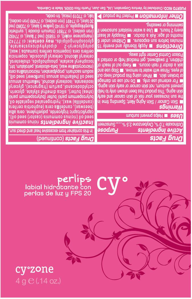Cyzone Cy Perlips Labial Hidratante Con Perlas De Luz Y Fps 20 (Octinoxate And Oxybenzone) Cream [Ventura Corporation Ltd.]