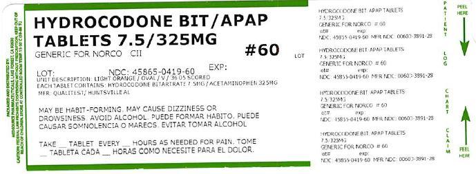 Hydrocodone Bitartrate And Acetaminophen Tablet [Medsource Pharmaceticals]