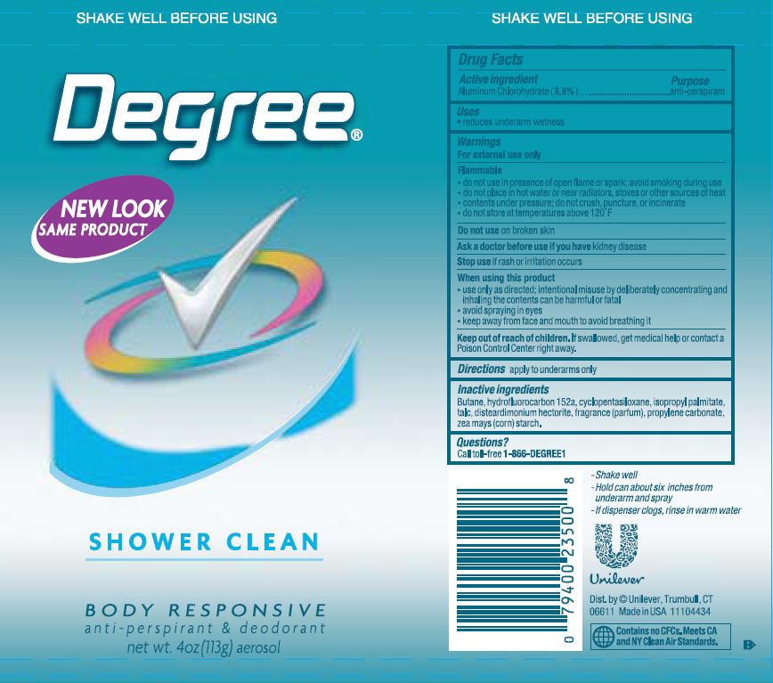 Degree Shower Clean Aerosol Antiperspirant And Deodorant (Aluminum Chlorohydrate) Aerosol, Spray [Conopco Inc. D/b/a Unilever]