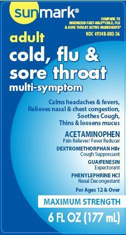 Adult Cold, Flu And Sore Throat (Acteaminophen, Dextromethorphan Hbr, Guaifenesin, Phenylephrine Hcl) Liquid [Mckesson]