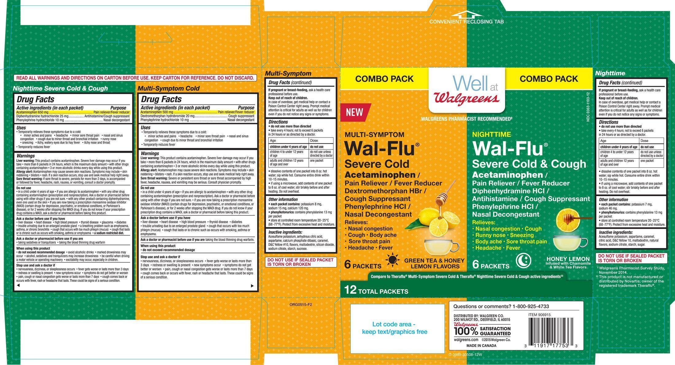 Well At Walgreens Multi-symptom Wal-flu Severe Cold And Nighttime Wal-flu Severe Cold And Cough Kit (Acetaminophen, Diphenhydramine Hcl, Phenylephrine Hcl And Dextromethorphan Hbr) Kit [Walgreen Co.]