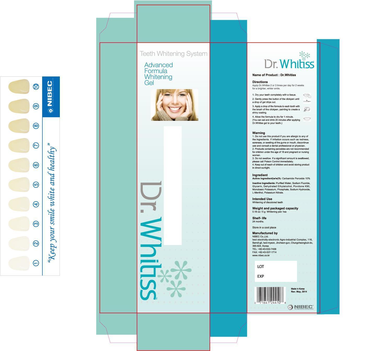 Dr. Whitiss (8.3%) (Carbamide Peroxide) Gel, Dentifrice [Nibec Co., Ltd]