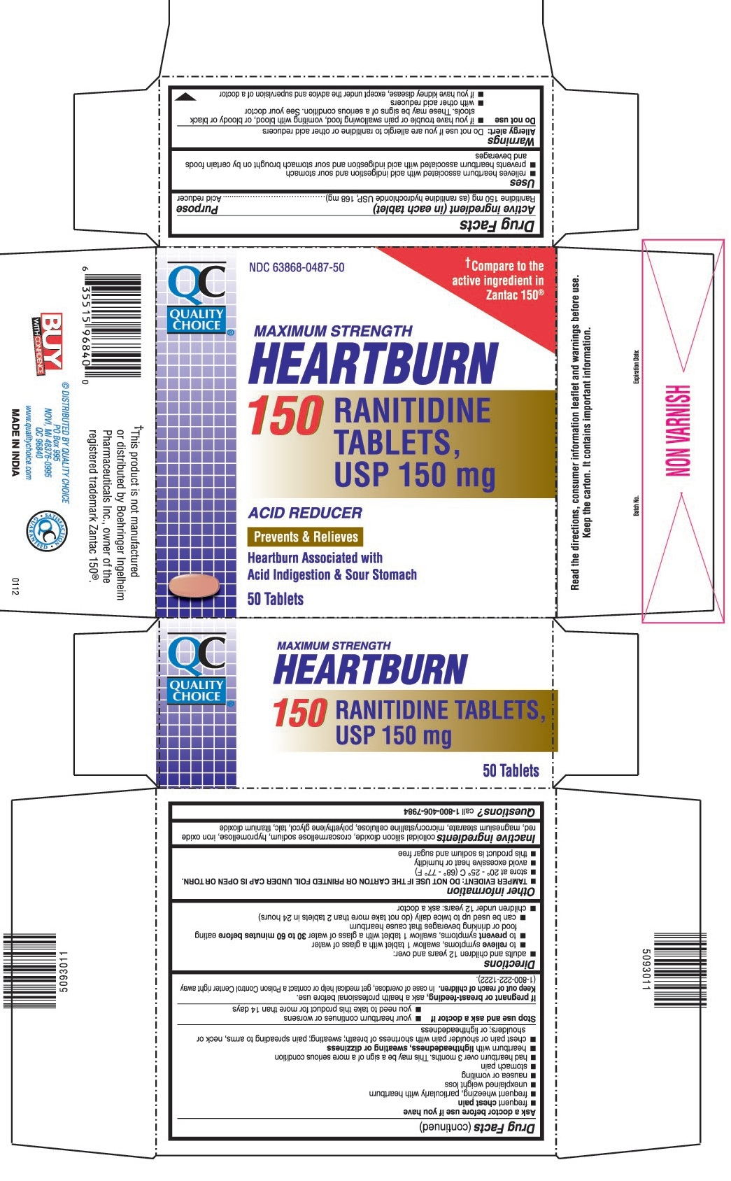 This is the 50 count bottle carton label for Quality Choice Ranitidine tablets, USP 150 mg.