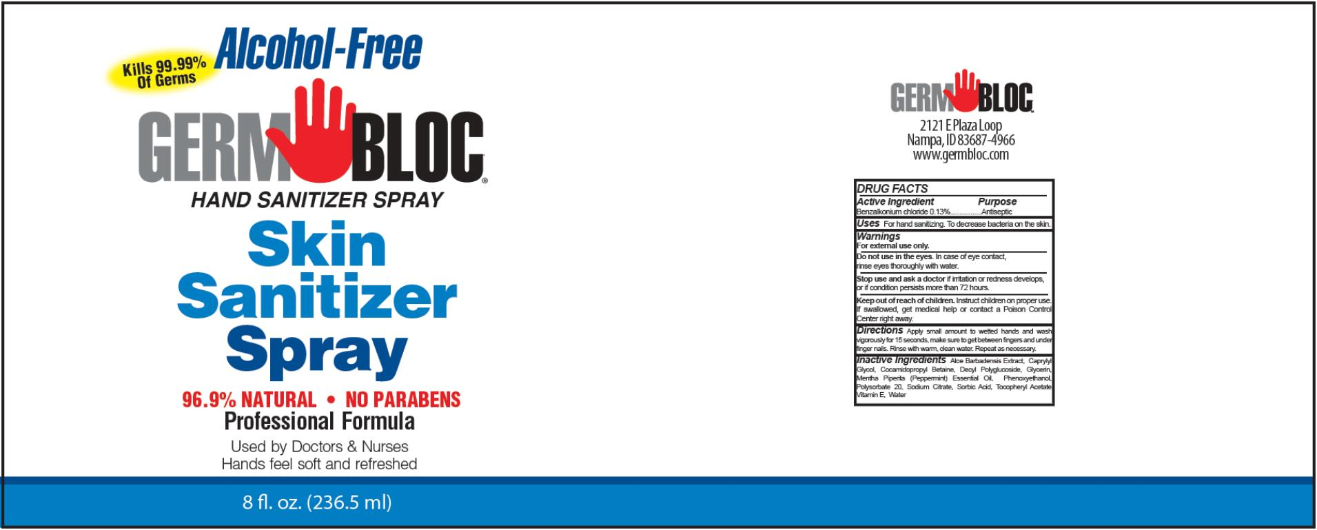 Germ Bloc Hand Sanitizer (Benzalkonium Chloride) Spray [Willspeed Technologies Llc]
