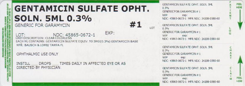 Gentamicin Sulfate Solution/ Drops [Medsource Pharmaceuticals]