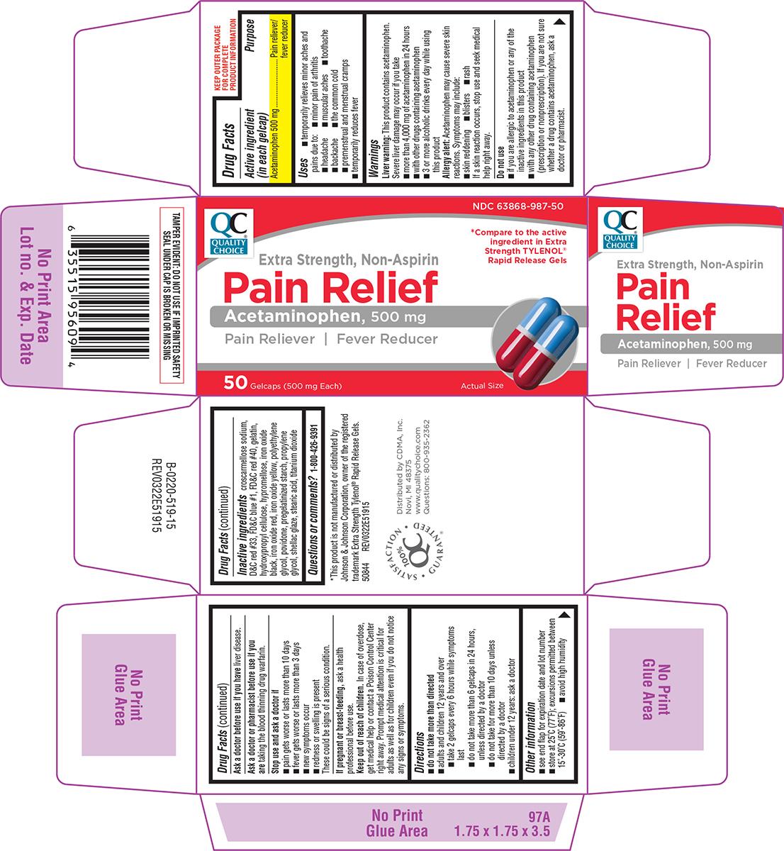 Extra Strength Non-aspirin (Acetaminophen) Capsule, Gelatin Coated [Chain Drug Marketing Association Inc]