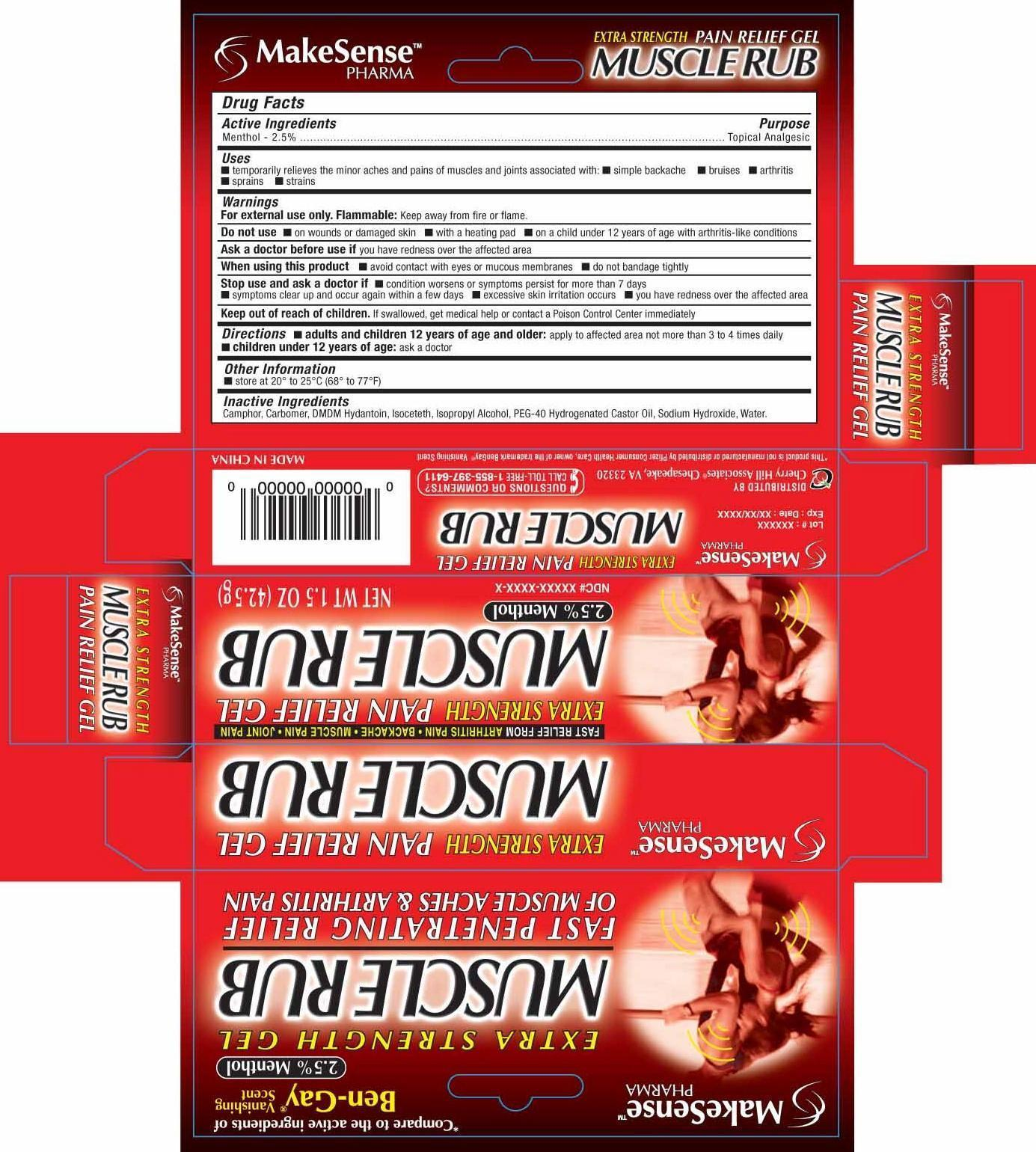 Makesense Extra Strength Muscle Rub (Menthol) Gel [Cherry Hill Sales Co]