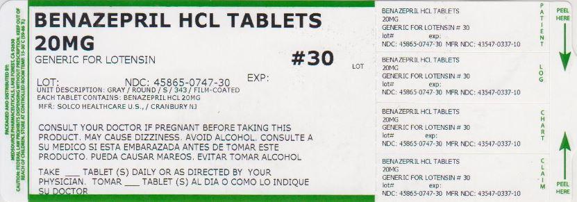 Benazepril Hydrochloride Tablet, Coated [Medsource Pharmaceuticals]