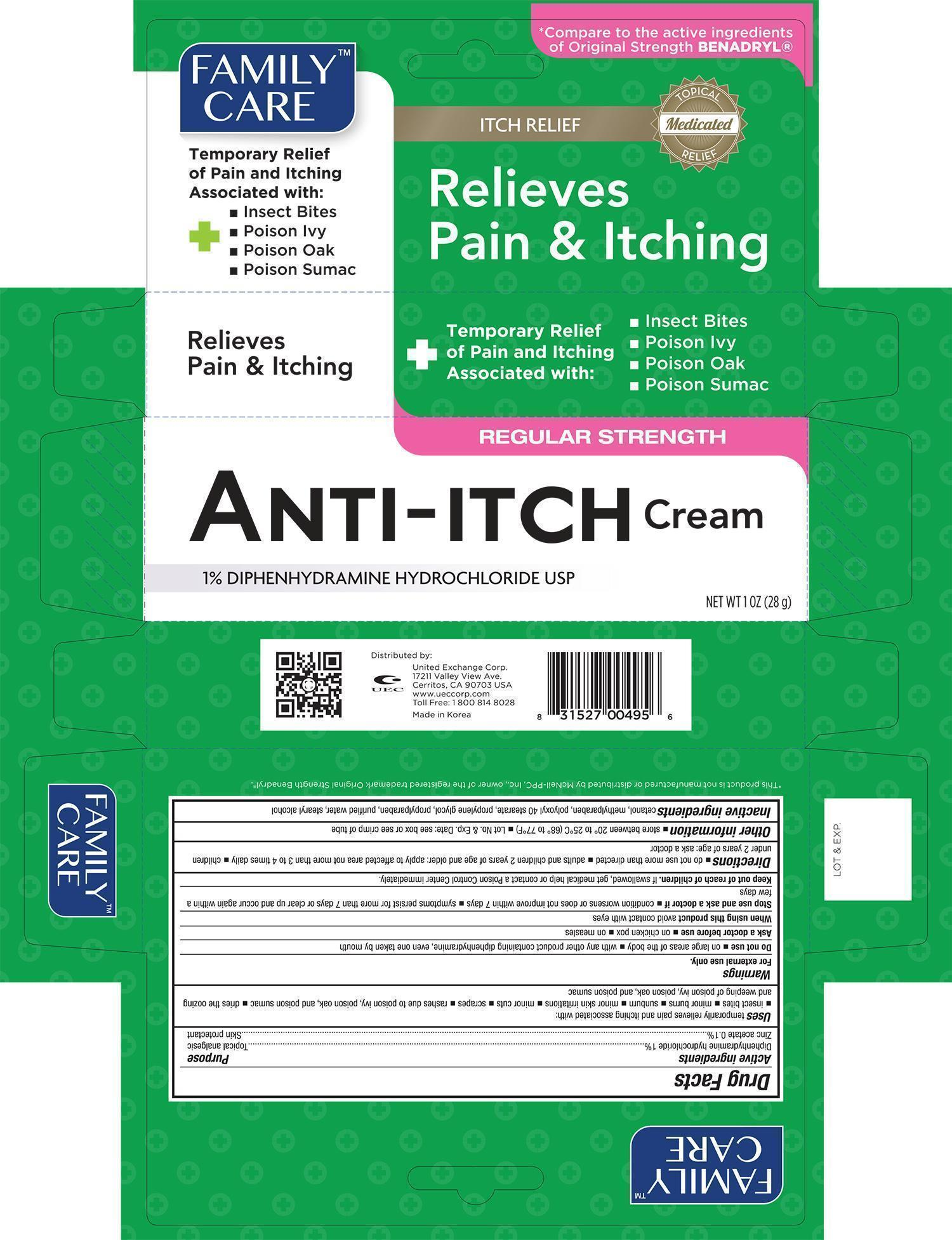 Family Care Anti-itch (Diphenhydramine Hydrochloride Zinc Acetate) Cream [United Exchange Corp.]