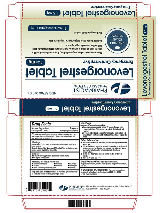 Levonorgestrel Tablet [Pharmacist Pharmaceutical, Llc]