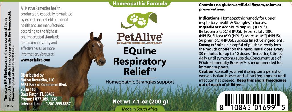 Equine Respiratory Relief (Aconitum Nap, Belladonna, Hepar Sulph., Silicea, Merc Sol , Sulphur ) Granule [W Last Cc]