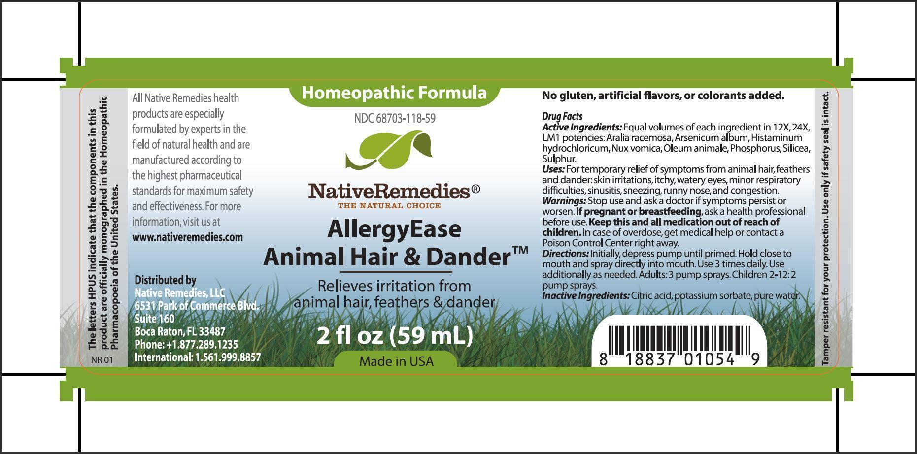 Allergyease Animal Hair And Dander (Aralia Racemosa, Arsenicum Album, Histaminum Hydrochloricum, Nux Vomica, Oleum Animale, Phosphorus, Silicea, Sulphur) Spray [Native Remedies, Llc]