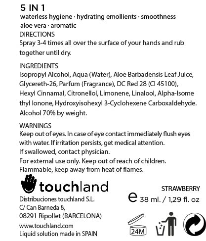 Touchland Kub2go Hand Sanitizer Strawberry (Alcohol) Liquid [Distribuciones Touchland S.l.]