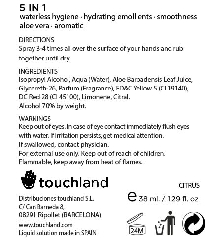 Touchland Kub2go Hand Sanitizer Citrus (Alcohol) Liquid [Distribuciones Touchland S.l.]