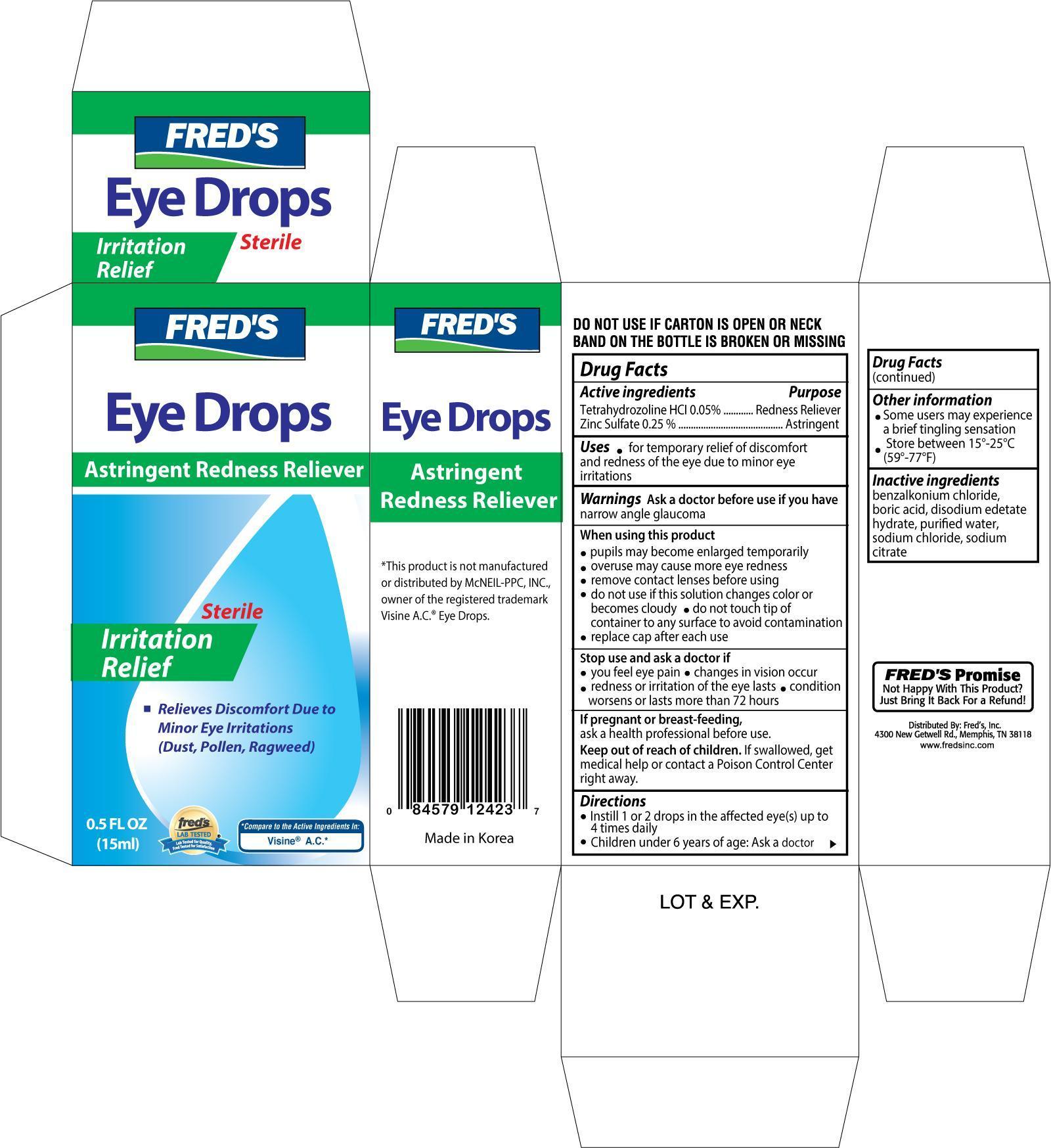 Freds Astringent Rdeness Reliever Eye (Tetrahydrozoline Hydrochloride) Solution [Freds Inc]