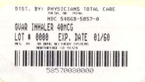 image of QVAR package label for 40 mcg