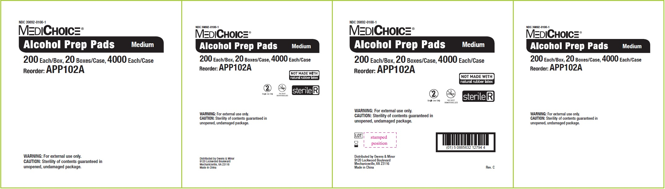 NDC - 39892-0100-1 - Alcohol Prep Pad - Box1
