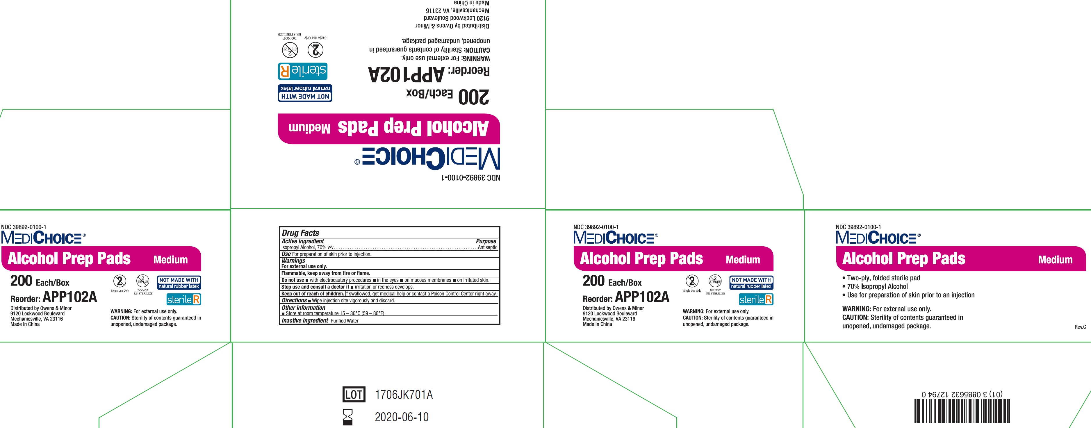 NDC - 39892-0100-1 - Alcohol Prep Pad - Outer Package1