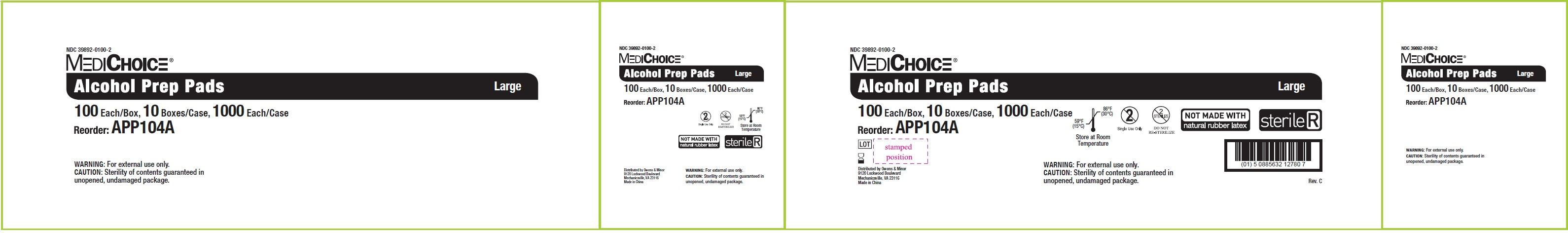 NDC - 39892-0100-2 - Alcohol Prep Pad - Box2