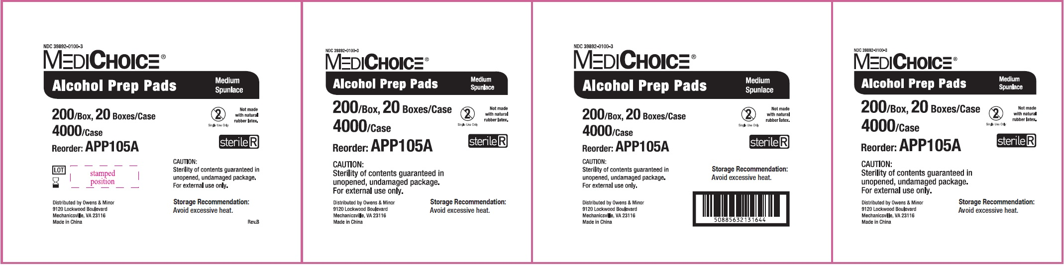 NDC - 39892-0100-3 - Alcohol Prep Pad - Box3