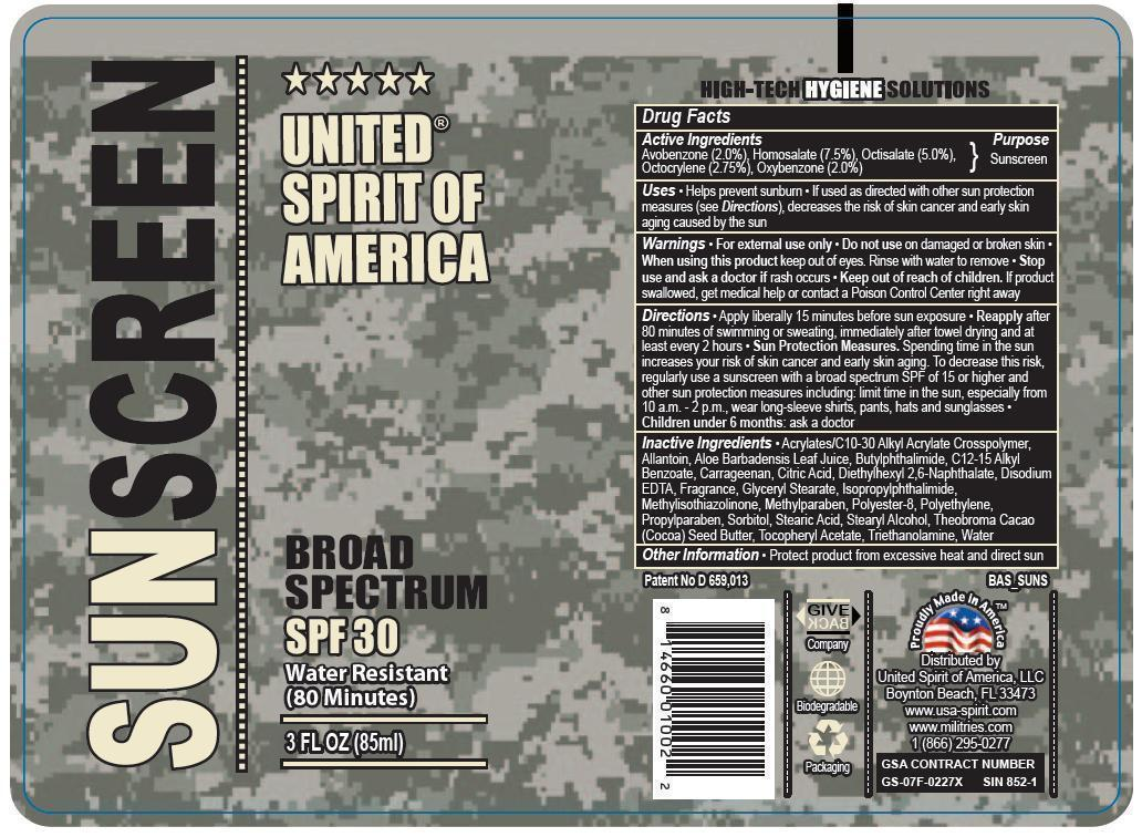 United Spirit Of America Broad Spectrum Spf 30 Sunscreen (Avobenzone, Homosalate, Octisalate, Octocrylene, Oxybenzone) Lotion [Prime Enterprises Inc.]
