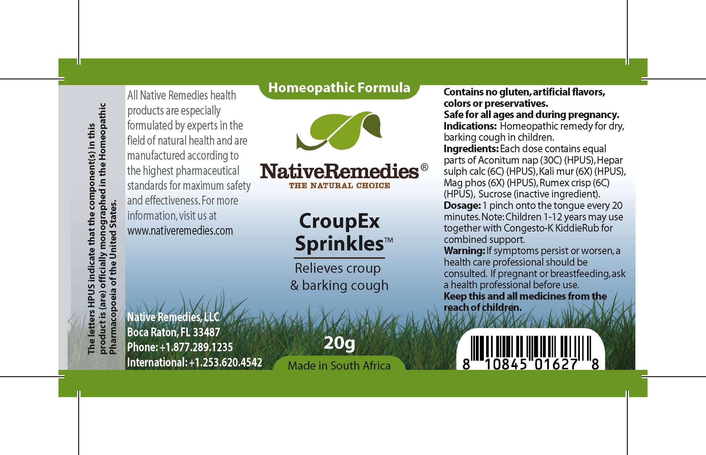 Croupex Sprinkles (Aconitum Nap , Hepar Sulph Calc , Kali Mur , Mag Phos , Rumex Crisp , Sucrose ) Granule [Feelgood Health]