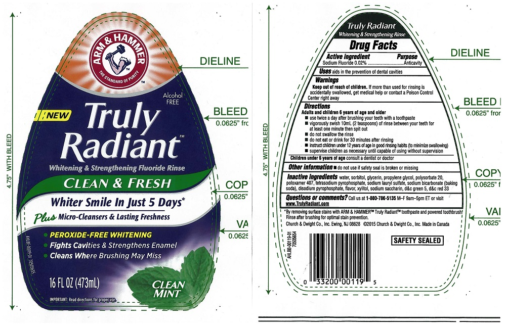 Truly Radiant Whitening And Strengthening Rinse Clean And Fresh (Sodium Fluoride 0.02%) Liquid [Church & Dwight Canada Corp]