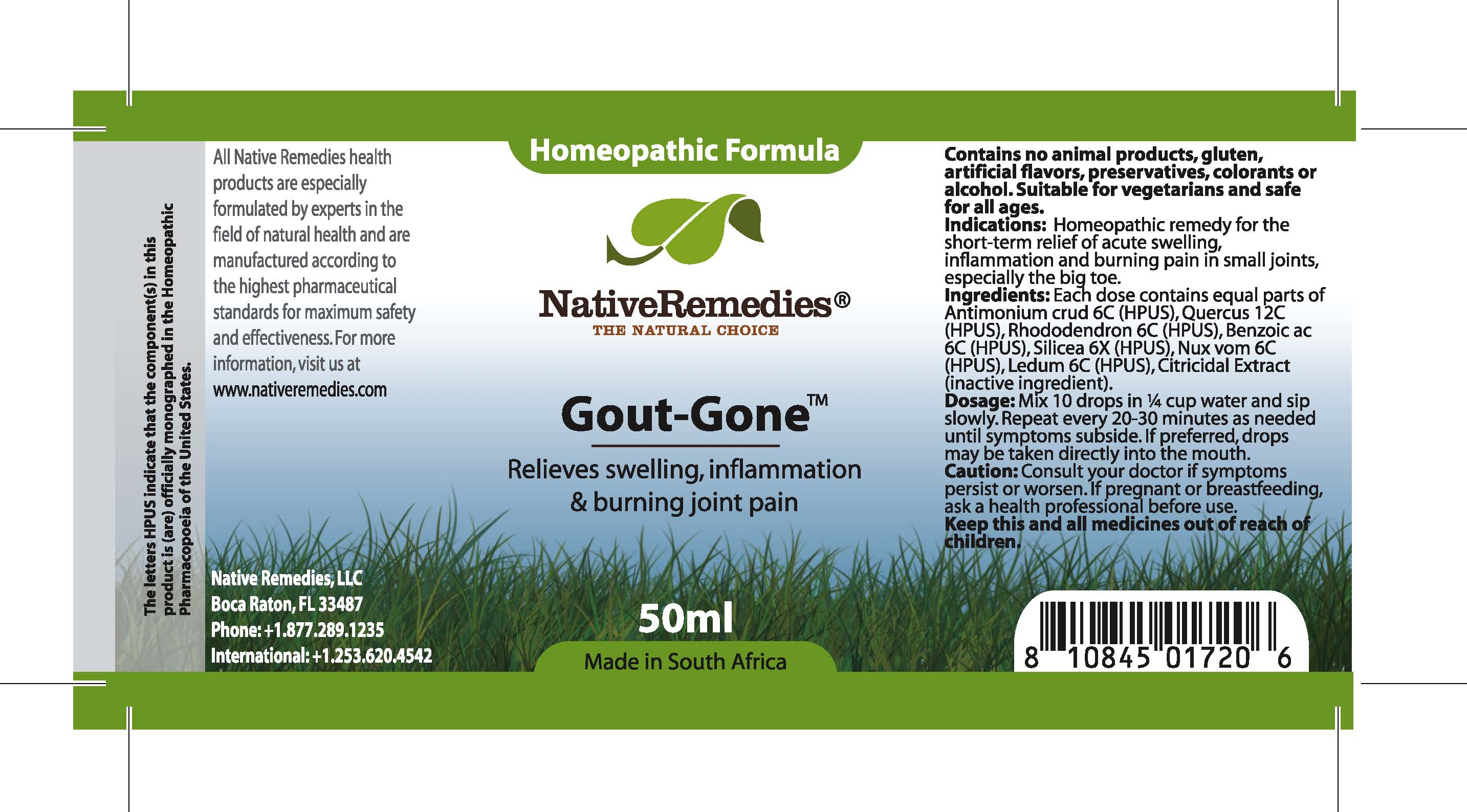 Gout-gone (Antimonium Crud , Quercus , Rhododendron, Benzoic Ac , Silicea , Nux Vom , Ledum , Citricidal Extract ) Tincture [Feelgood Health]