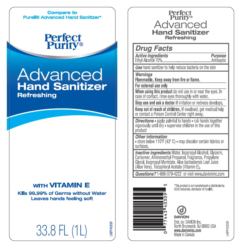Perfect Purity Advanced Hand Sanitizer Refreshing (Alcohol) Solution [Davion, Inc]