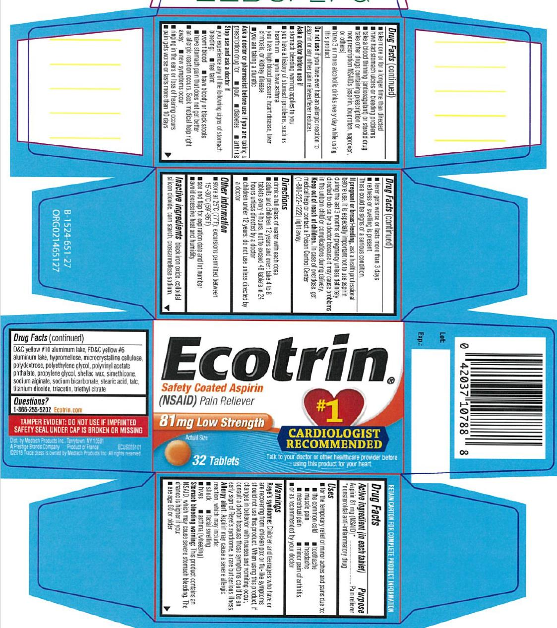 Ecotrin (Aspirin) Tablet, Coated [Medtech Products Inc.]