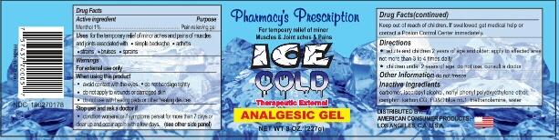 Pharmacys Prescription (Analgesic) Gel [Ningbo Liyuan Daily Chemical Products Co Ltd]