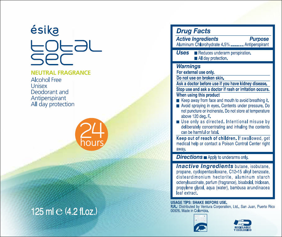 Esika Total Sec Neutral Fragrance Alcohol Free Unisex Deodorant And Antiperspirant – All Day Protection (Aluminum Chlorohydrate) Spray [Ventura Corporation Ltd.]