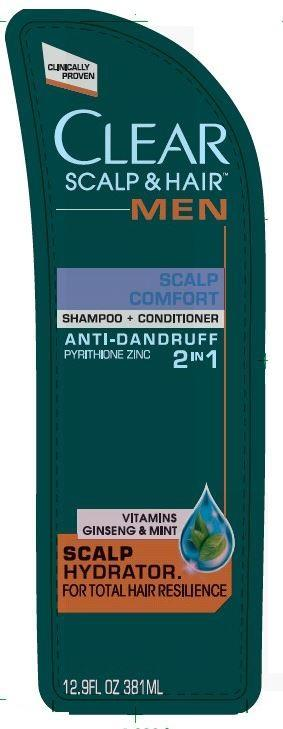 Clear 2 In 1 Scalp Comfort Antidandruff (Pyrithione Zinc) Shampoo [Conopco Inc. D/b/a Unilever]