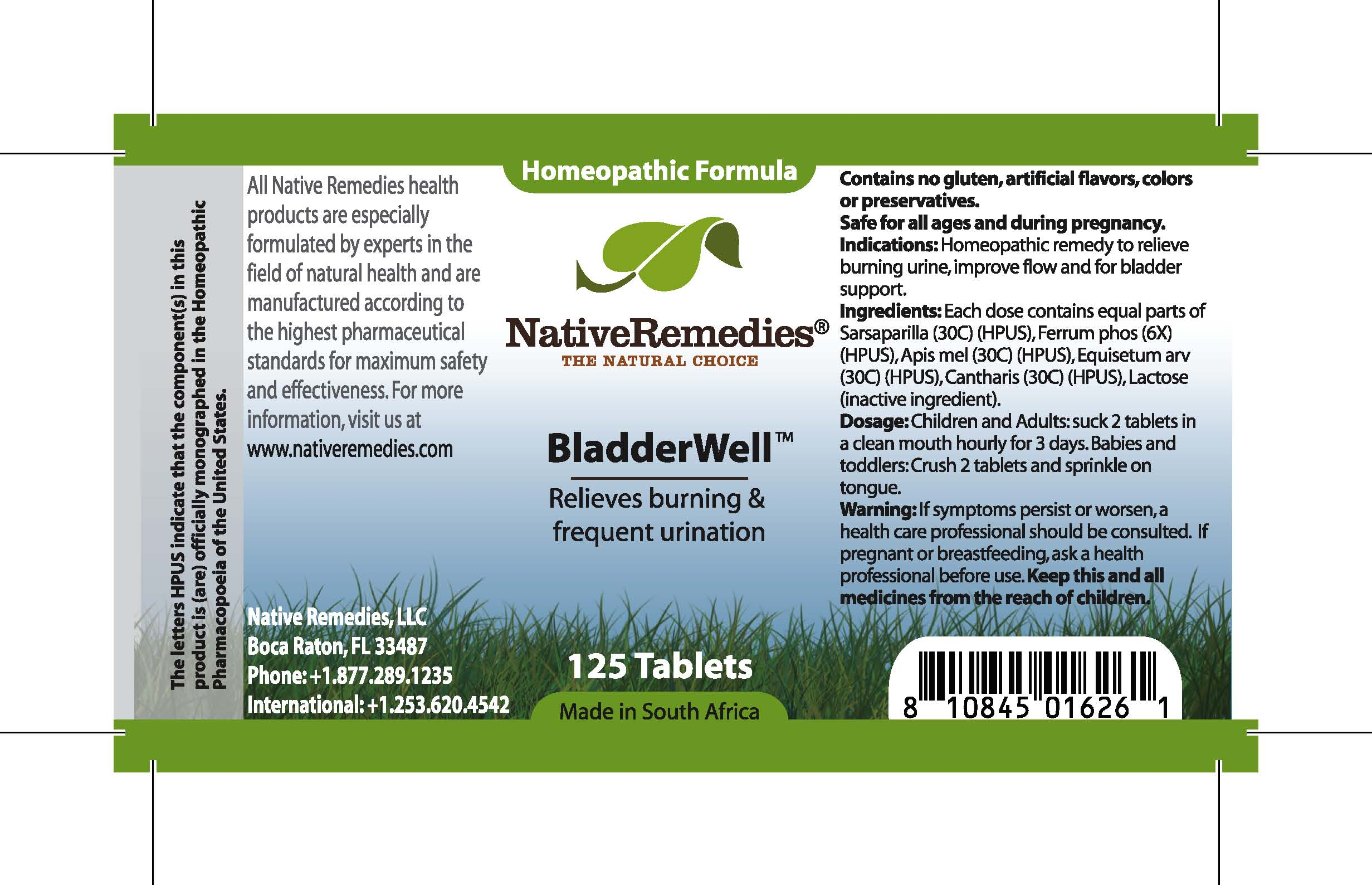 Bladderwell (Sarsaparilla, Ferrum Phos, Apis Mel, Equisetum Arv, Cantharis) Tablet [Feelgood Health]