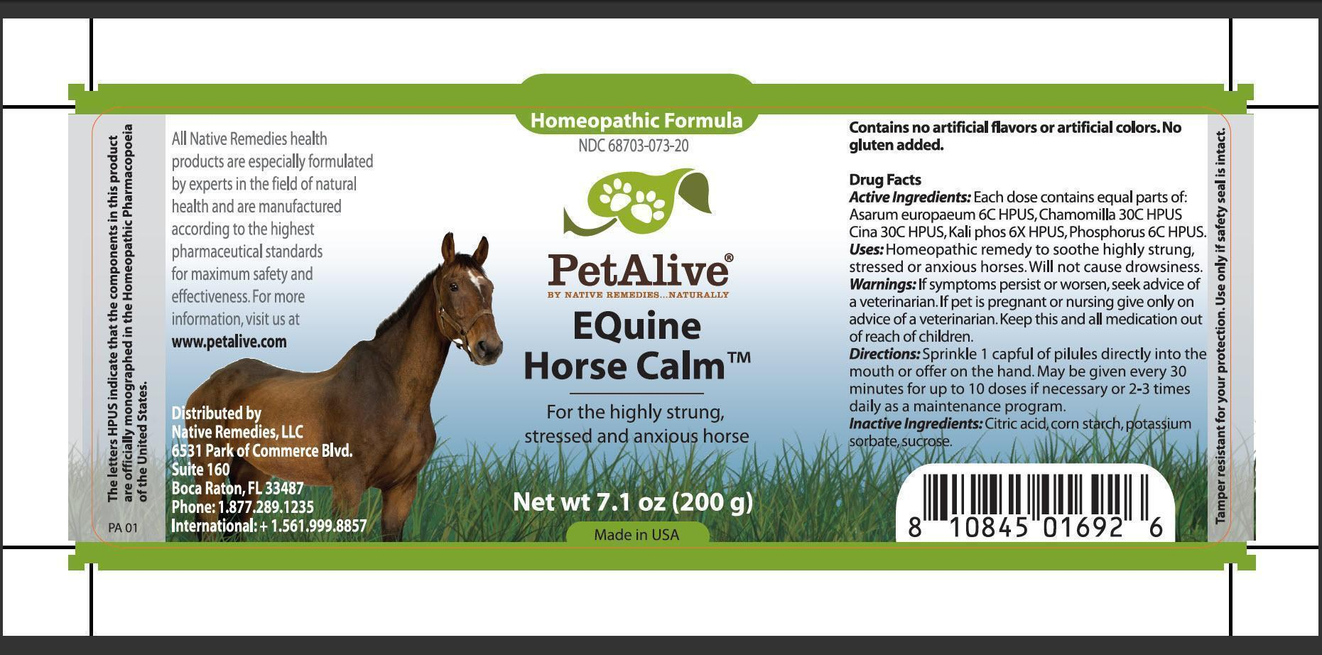 Equine Horse Calm (Asarum Europaeum, Chamomilla, Cina, Kali Phos, Phosphorus, Citric Acid, Corn Starch, Potassium Sorbate, Sucrose) Pellet [Native Remedies, Llc]